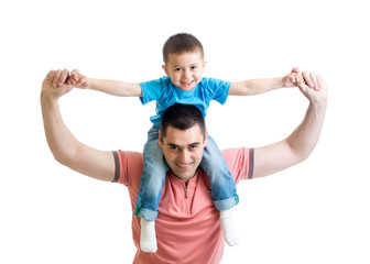 father playing with kid son isolated on white