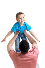 dad playing with kid isolated on white