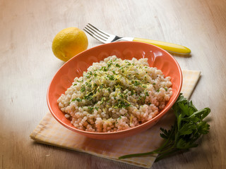 barley risotto with lemon peel and pepper