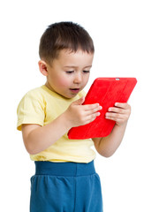kid boy with tablet computer, early learning conception