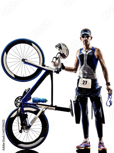 man triathlon iron man athlete equipment - 65709632