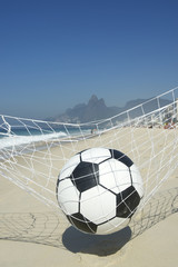Soccer Goal Ball in Football Net Rio de Janeiro Brazil Beach