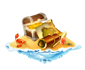Treasure island, vector illustration