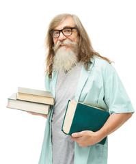 Senior in glasses with books. Old man education, elder beard