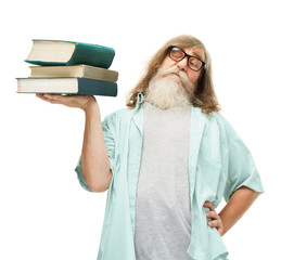 senior in glasses lifting books, old man knowledge education