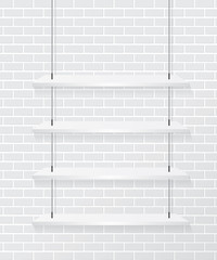 Brick wall and white shelve