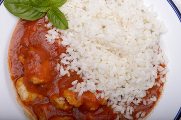 Chicken stew with tomatoes and rice