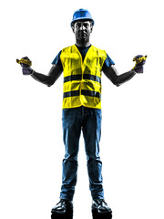construction worker signaling safety vest extend boom silhouette
