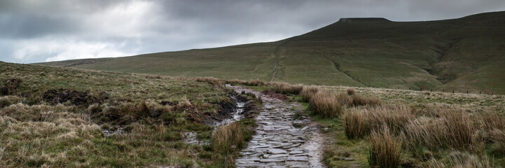 Panorama landscape of path leading towards Corn Du mountain in B