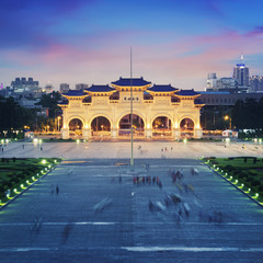 Chiang Kai-shek Memorial at  night in Taipei - Taiwan.