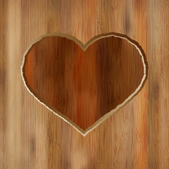 Grunge heart carved into wooden plank.  + EPS8