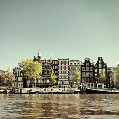 Retro styled image of an Amsterdam canal