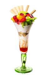 Fruits with whipped cream