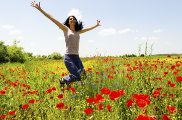 Jumping in poppies