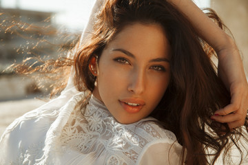 beautiful female with lovely look and bright make up.