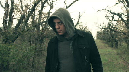 Angry Evil Man Gangster Walking in Dark Creepy Forest