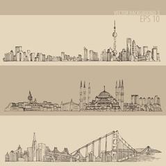 Shanghai, Istanbul, San Francisco, engraved illustration