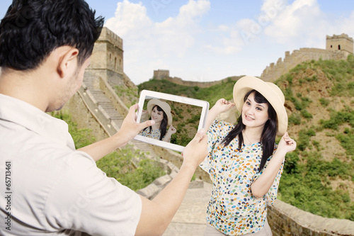 Couple take picture in china great wall