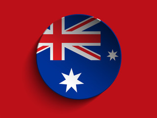 Flag Paper Circle Shadow Button Australia