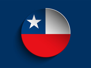 Flag Paper Circle Shadow Button Chile