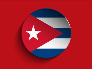 Flag Paper Circle Shadow Button Cuba