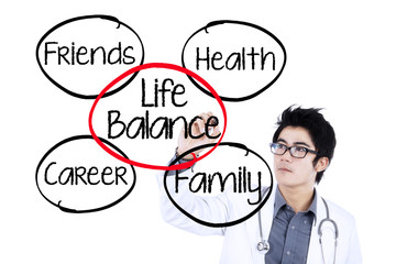 Doctor making life balance concept 1