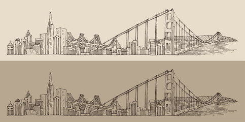 San Francisco, city architecture, engraved illustration