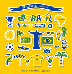 Brazil  icons set. Vector elements for your design.