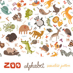 Zoo ABC seamless pattern
