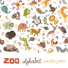 Zoo ABC seamless pattern