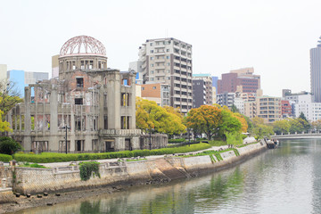 Atomic Dome and the river view at Hiroshima Japan