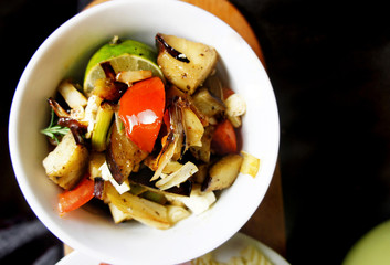 Mix of grilled vegetables on the table