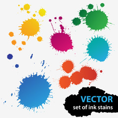 Vector colorful set of grunge stains background textures