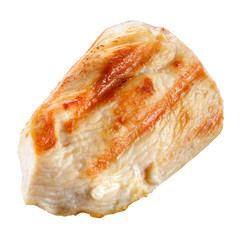 Grilled chicken breast isolated on white. Piece of meat