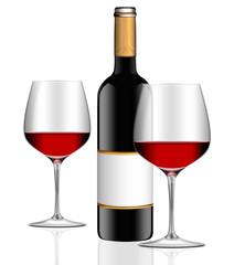Zwei Rotweingläser mit Rotweinflasche