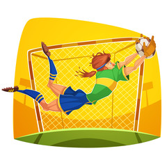 Goalkeeper. Soccer player. Vector image