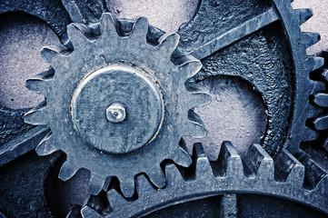 rusty and metallic gear wheel