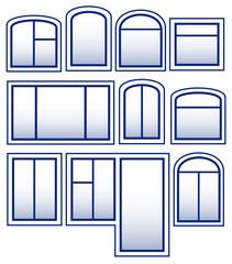 set blue isolated window