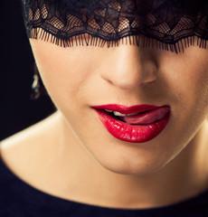 sexy lady licking lips