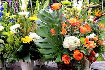 Baskets of various flower arrangement
