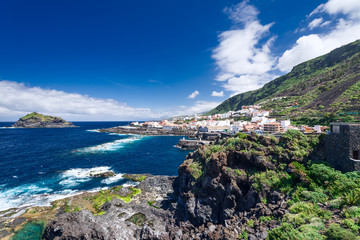 View on historical city Garachico Tenerife Island Spain