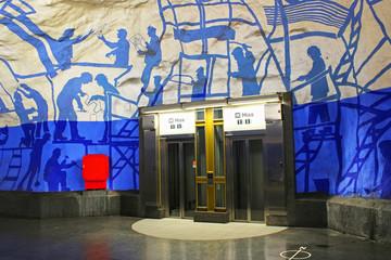 Elevators on T-Centralen metro station, Stockholm, Sweden