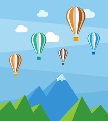 Vector flat nature scene with mountains and air balloons