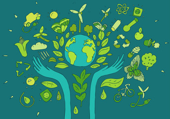 Eco Friendly concept, save earth concept, vector illustration