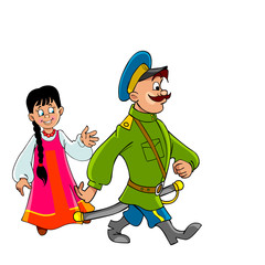cartoon Cossack in uniform comes and the girl in national dress