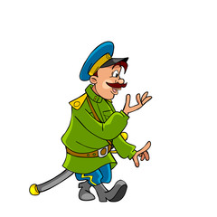 cartoon Cossack in uniform comes and says
