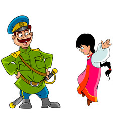 cartoon Cossack in uniform and a girl in national dress jumping