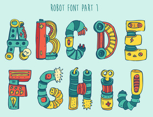 vektor cartoon colorful robot font (type) part 1