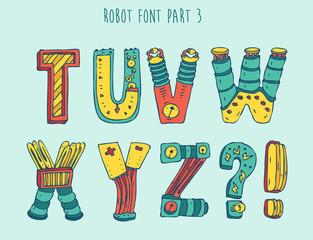 vektor cartoon colorful robot font (type) part 3