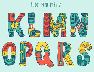 vektor cartoon colorful robot font (type) part 2